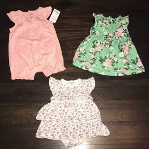 3-6 month baby girl summer dress and romper set